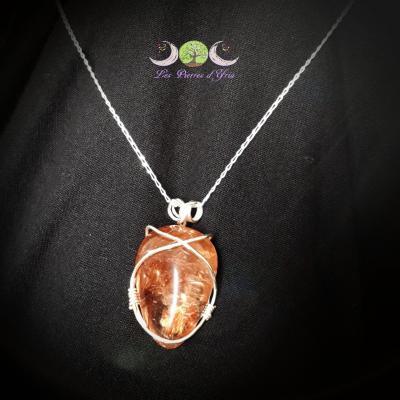 Pendentif quartz rutilé & Argent