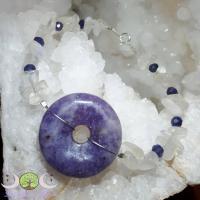 Bracelet donut Lépidolite, pierre de lune, cordiérite