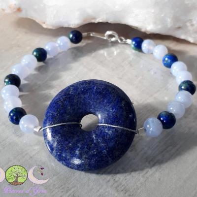 Bracelet Lapis-lazuli, Calcédoine & Azurite