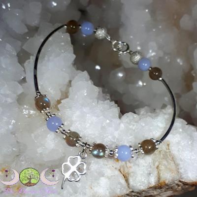 Bracelet argent Calcédoine & Labradorite