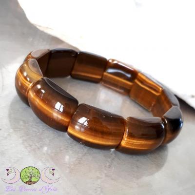 Bracelet plaquettes Oeil de Tigre