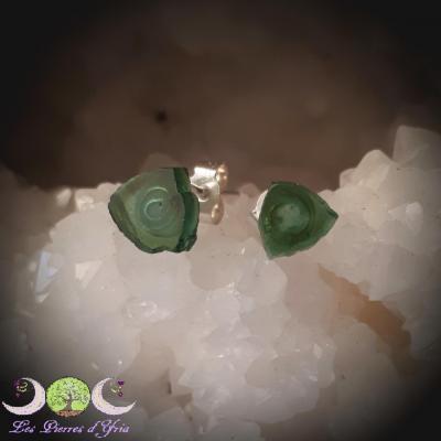 Boucles d'oreille Tourmaline Verte [tranche] & Argent