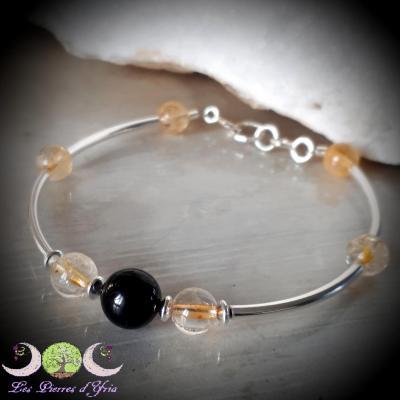 Bracelet Tourmaline noire & Citrine