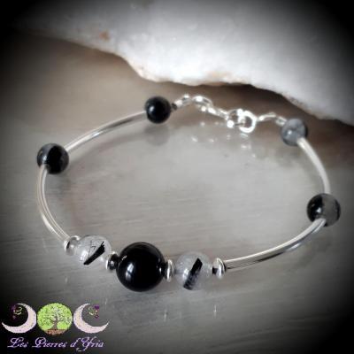 Bracelet Obsidienne oeil céleste & Quartz inc. Tourmaline