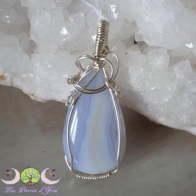 Pendentif Calcédoine [agate blue lace]