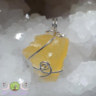 Pendentif Calcite orange brute