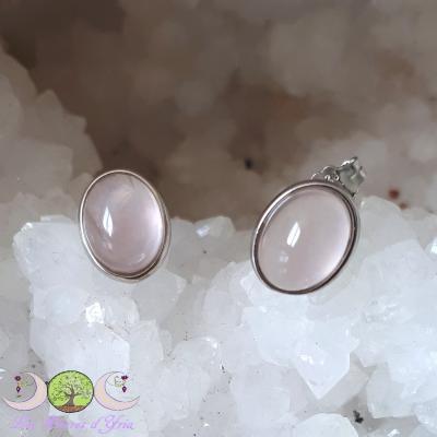 Boucles d'oreille Quartz rose & argent 925