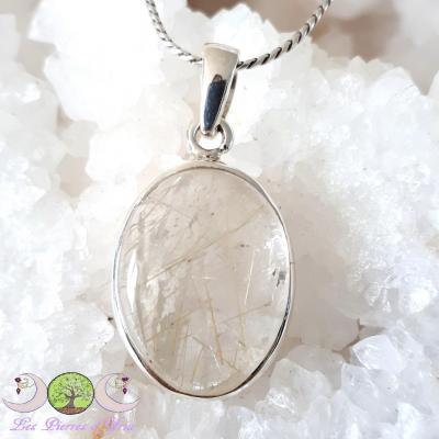 Pendentif quartz rutile & Argent