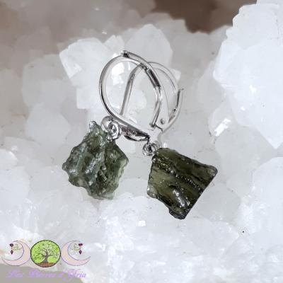 Boucle d'oreille Moldavite & argent 925