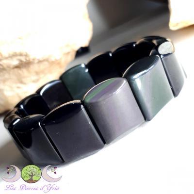 Bracelet plaquettes Obsidienne oeil céleste