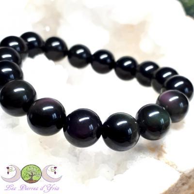 Bracelet boules Obsidienne oeil céleste