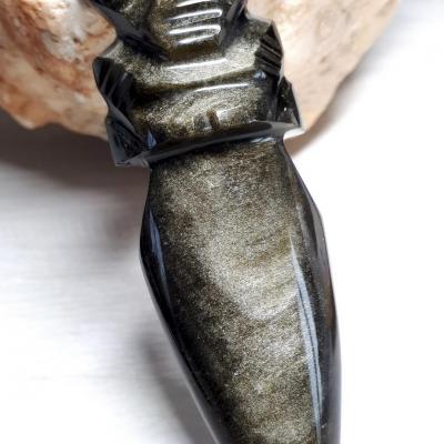 """Coupe papier """"totem"""" Obsidienne Dorée"""