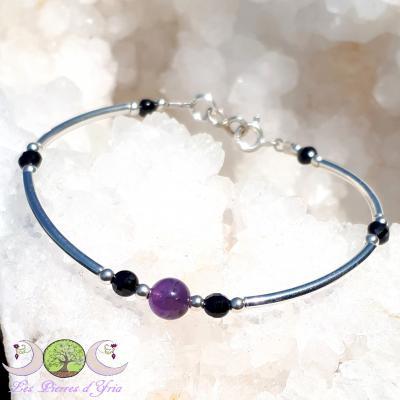 Bracelet Améthyste & Spinelle noir