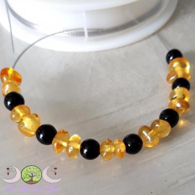 Bracelet Tourmaline Noire & Ambre [Baltique]