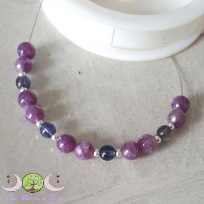Bracelet Lépidolite & Cordiérite