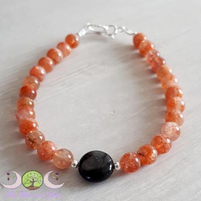 Bracelet Hypersthene & Pierre de soleil