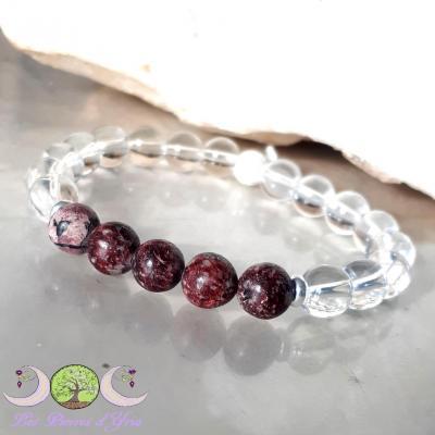 Bracelet Eudyalite & Cristal de roche