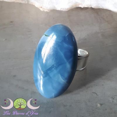 Bague Opale Bleue [Pérou] - Argent [taille réglable]