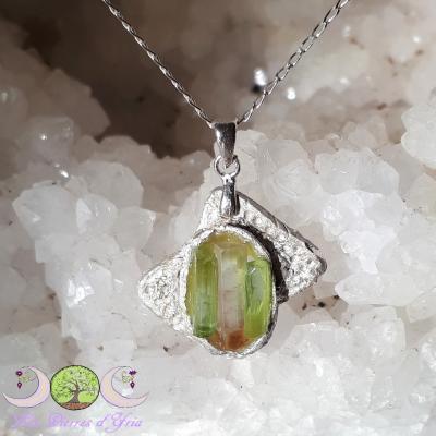 Pendentif cristal Tourmaline rose et verte