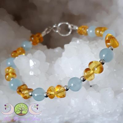 Bracelet Ambre & Aigue-marine