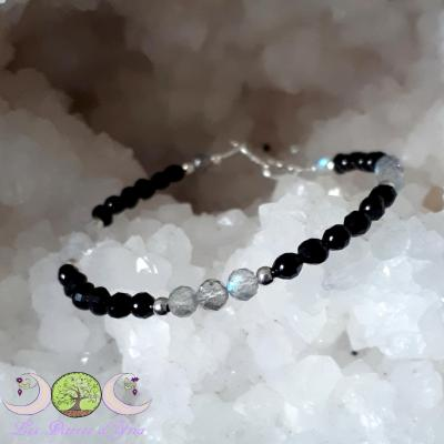 Bracelet Labradorite & Spinelle noir