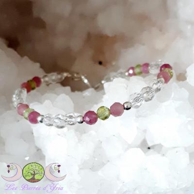 Bracelet Tourmaline rose, Péridot & Cristal de Roche