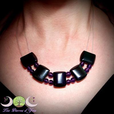 Collier Obsidienne oeil céleste & Améthyste