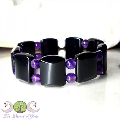 Bracelet Obsidienne oeil céleste & Améthyste
