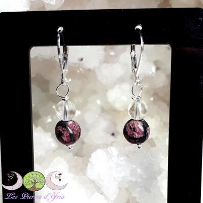 Boucles d'oreille Eudyalite & Cristal de roche