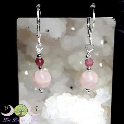 Boucles d'oreille Quartz rose & Tourmaline rose
