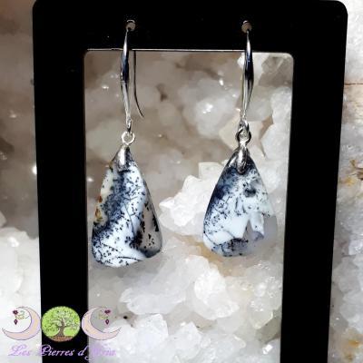 Boucles d'oreille Opale Dendrite