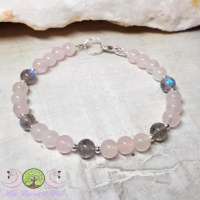 Bracelet Quartz rose & Labradorite