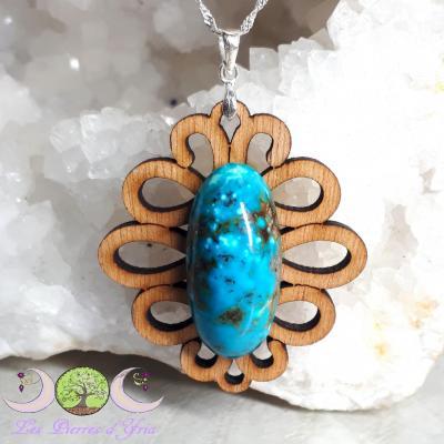 Pendentif Turquoise [Perse] sur bois
