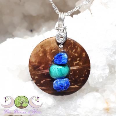Pendentif Azurite cristallisée& Malachite sur bois