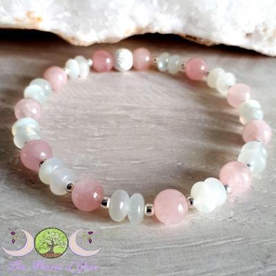Bracelet Quartz rose & Pierre de Lune