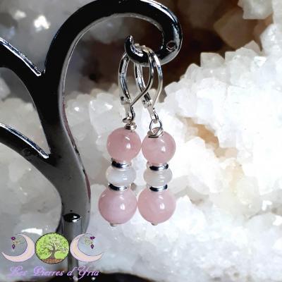 Boucles d'oreille Quartz rose & Pierre de Lune
