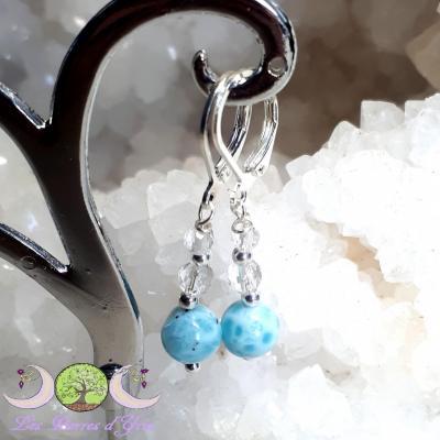 Boucle d'oreille argent Cristal de roche & Larimar