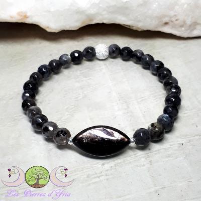 Bracelet Hypersthene & Larvikite