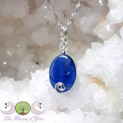 Pendentif Cyanite & Cristal de roche
