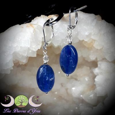 Boucles d'oreilles Cyanite & Cristal de roche