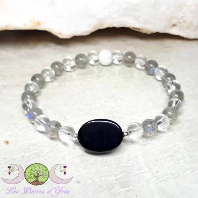Bracelet PROTECTION Labradorite & Obsidienne noire