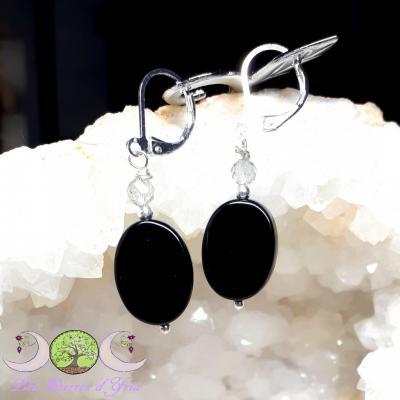 Boucles d'oreilles PROTECTION Labradorite & Obsidienne noire