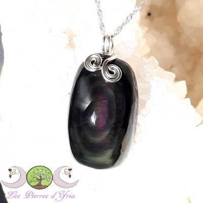 Pendentif obsidienne oeil céleste