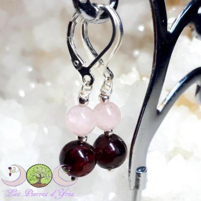 Boucles d'oreilles Grenat & Quartz Rose