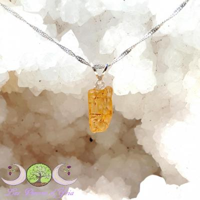 Pendentif Topaze Impériale & Cristal de roche