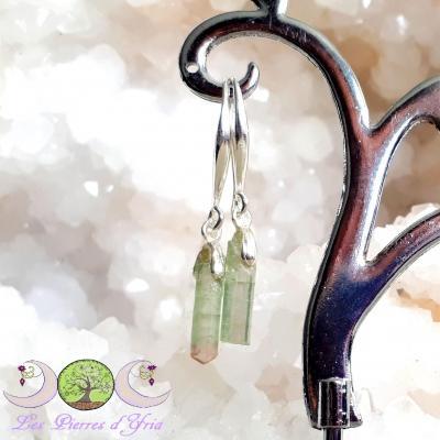 Boucles d'oreille Tourmaline Melon d'eau & Argent