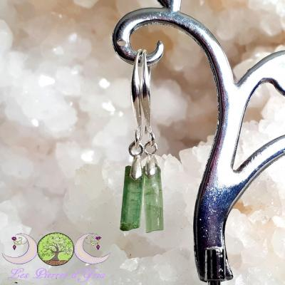 Boucles d'oreille Tourmaline Verte [Cristaux bruts] & Argent