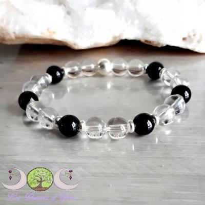 Bracelet Spinelle noir & Cristal de roche
