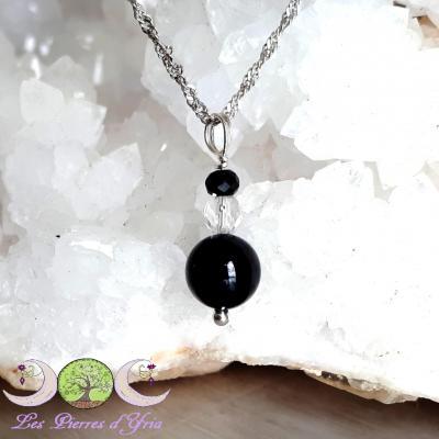 Pendentif Spinelle noir & Cristal de roche