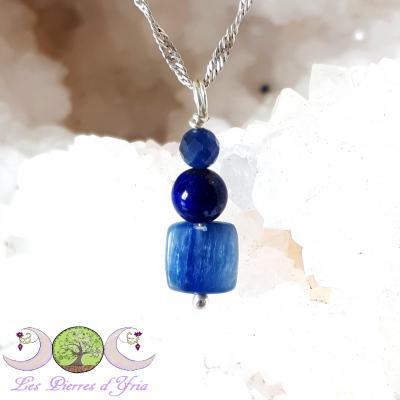 Pendentif cyanite, lapis-lazuli, saphir